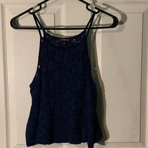 Express Navy Blue Lace Crop Camisole